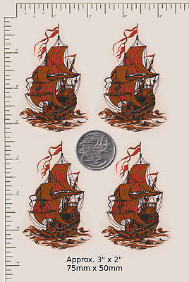 4 Waterslide ceramic decal decoupage Galleon ships Vintage Sailing Sea PD38a