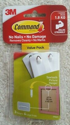 Command Large SAWTOOTH Picture Hangers-White 3 Hooks & 6 Strips 3M (17042)