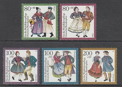 GERMANY - 1993 HUMANITARIAN RELIEF fund  set of 5  MNH - Traditional Costumes