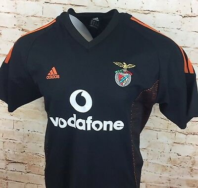 Benfica Away Football Shirt Jersey 2002/03 XL Adult Portugal Adidas Black Orange