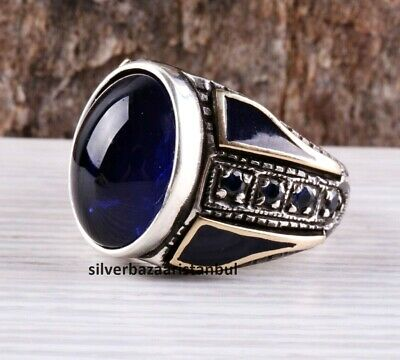 Turkish jewelry 925 Sterling Silver blue sapphire stone Mens ring ALL SİZE us 80