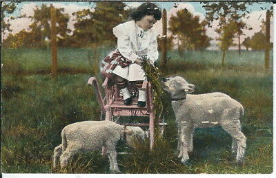 BA-320 - Little Girl Feeding Lamb from Cart, 1907-1915 Golden Age Postcard