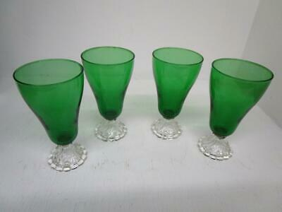 """Vintage Anchor Hocking Emerald Green w Clear Bubble Foot 6 1/2"""" Glass 4 Glasses"""