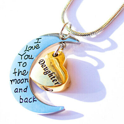Cremation keepsake, Daughter heart & moon Pendant and Necklace for Ashes.