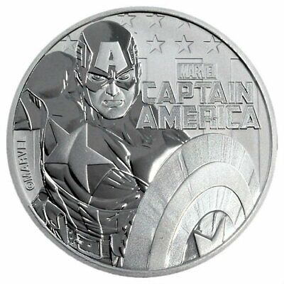 CAPTAIN AMERICA MARVEL SERIES 2019 1 oz Silver Coin CAPSULE Tuvalu Perth Mint