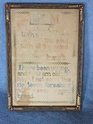 Antique Sampler 1863 by 7 year old Love God from Western New York 19th Century