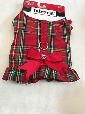 Cat Harness One Size Feline Apparel Clothing Red Plaid
