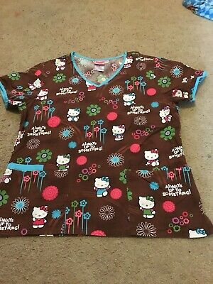 80415400f SCRUBS SCRUB TOP Hello Kitty Red With Bows Cute Pretty Medium 100 ...