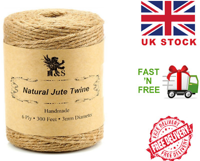 H&S. Jute Twine String 600 Feet 6ply 3mm Thick Strong Natural Rope Roll...