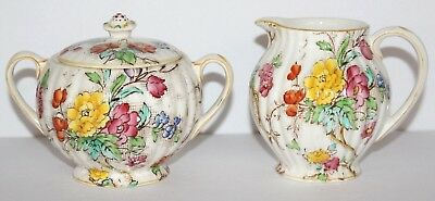 Antique BOOTHS China 'Tapestry' CREAMER & SUGAR BOWL Floral Pattern ENGLAND