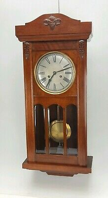 Beautiful Antique Edwardian Striking 8 Day Wall Clock Bevelled Glass