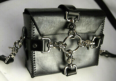 Leather Cuffs N collars Gift travel storage bag w/ removable straps purse