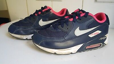 separation shoes a15d4 f0f4b Nike Air Max 90 Ps Girls Kids Pink Navy Trainers Shoes Size Uk 2 Eu 34