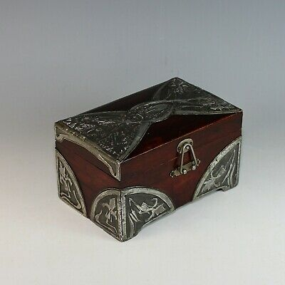 Unique French Art Nouveau Wood Box with Hand Hammered Overlay