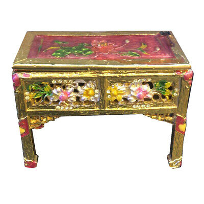 1:12 Scale Dollhouse Miniature Vintage Metal End Table and Jewelry Case