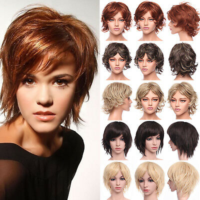 Hot Women Ladies Full Wig Synthetic Hair Curly Straight Brown Blonde Ombre Wigs