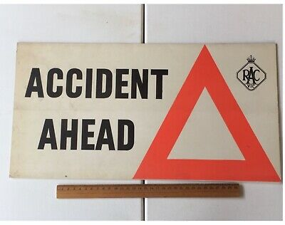 """Vintage RACV A-Frame Card Sign """"Accident Ahead"""" 1950's? Original Advertising"""