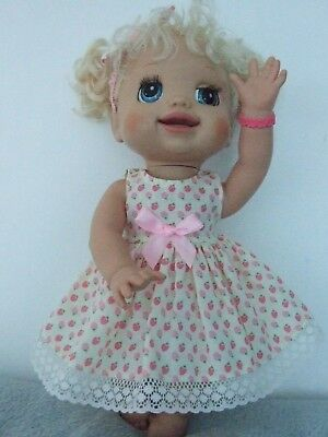 "Dolls Clothes for 16"" BABY ALIVE DOLL ~ strawberry /3pc dress~knickers~hair bows"