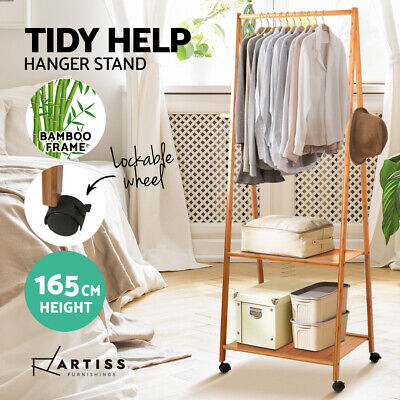Bamboo Valet Stand Clothes Coat Hanger Unit Wooden Display Rack Shelves Office
