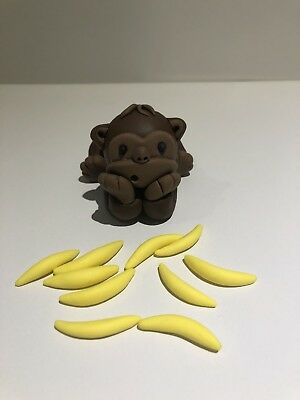 3D Monkey Edible Fondant Cake Toppers, Gum paste, 1 Monkey With 10 Bananas.