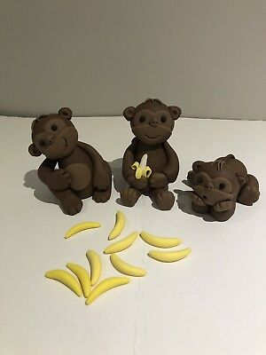3D Monkey Edible Fondant Cake Toppers, 1 Sets Of 3 Monkeys With 10 Bananas.