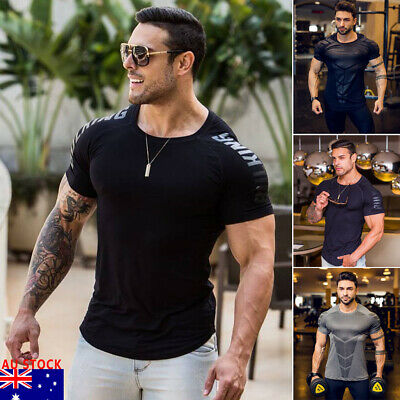 AU Men Gym Short Sleeve Muscle Bodybuilding Sport Fit Muscle Fitness T-shirt Tee