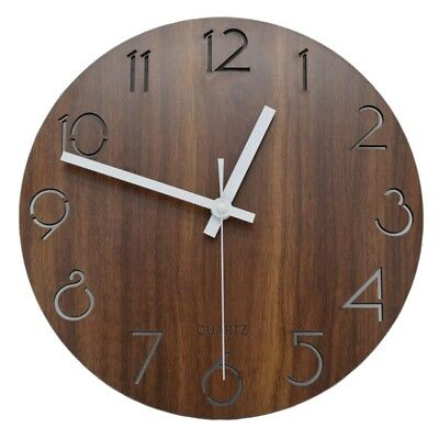 12 inch Vintage Arabic Numeral Design Rustic Country Tuscan Style Wooden De F2H3