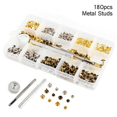 180 Set Leather Rivets Double Cap Rivet Tubular Metal Studs with Fixing Tool UK
