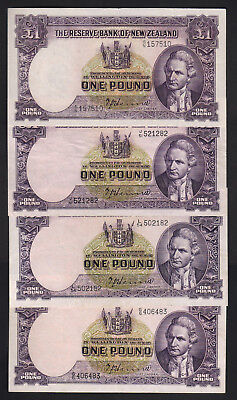 NEW ZEALAND P-159a. 1 Pound (1940-55) - Hanna x 4 Notes.  aVF-gVF