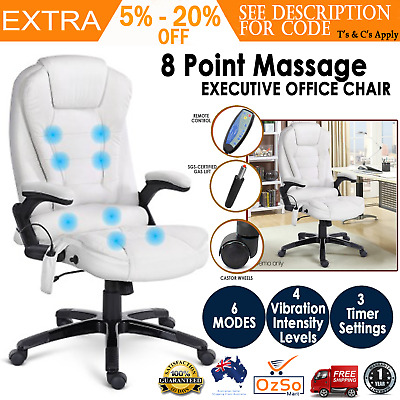 Shiatsu 8 Point Massage Executive Recliner Office Computer PU Leather Chair New