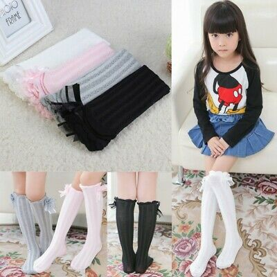 newest nice shoes cheap prices BABY GIRL HIGH Knee Socks Lovely Sweet Gridding Bow Stocking ...