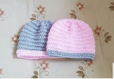 Pack of 2 hand knitted   baby Hats  in premature