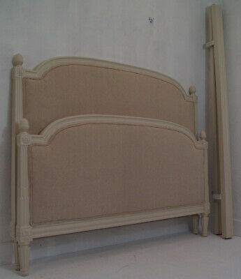 A French Vintage Louis XVI upholstered Kingsize Bed Frame with Slatted Base