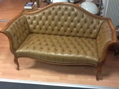 2er Couch Chippendale Leder Art Chesterfield