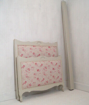 A French Vintage Single Bed in Peony & Sage 'Charlotte'
