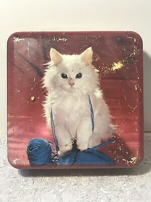 Vintage NESTLE'S Chocolate Confectionary Tin with a Cute White Fluffy Kitten Cat