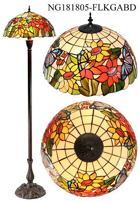 *out of stock*SUNFLOWER BUTTERFLY Style Stained Glass Tiffany Floor Lamp