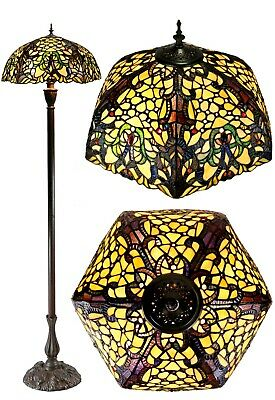 "Classical 18"" Flower Leaf Style Stained Glass Tiffany Floor Lamp"