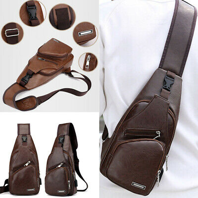 AU Men's Leather Sling Pack Chest Shoulder Crossbody Bag Biker Satchel Fashion