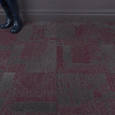 Quality Office Carpet Tiles Patched Pattern Red/Grey 3.76m2