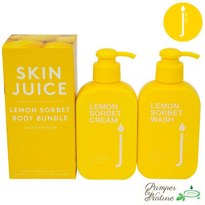 Skin Juice Lemon Sorbet Body Bundle includes Body Wash + Body Cream