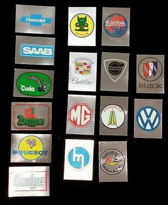 1976 Topps Autos of 1977  Stickers 16 Diff MG, Chevrolet, VW, Cuda Etc