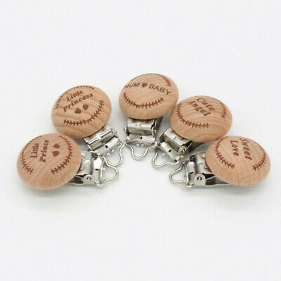 Baby Wooden Nipple Clip Pacifier Holder Clip Strap Wooden Beads Chain Toy 8C