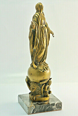"""Charming Bronze Figure :"""" Madonna on Crescent Moon and Ball """", H.31 Cm. (5x5)"""