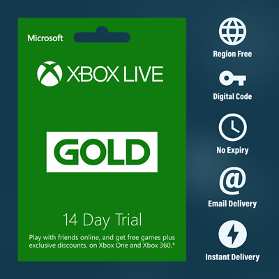 Xbox Live Gold 14 Days 2 Weeks Trial Code Membership Email Delivery