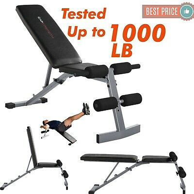 ADJUSTABLE WEIGHT BENCH Flat Incline Decline Exercise Strength Training Workout