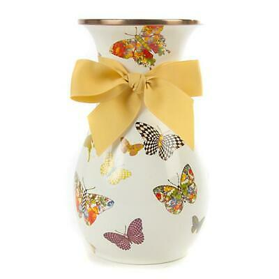 MacKenzie-Childs Butterfly Garden Tall Vase ~ White ~ NEW ~ SOLD OUT~#89830-0025
