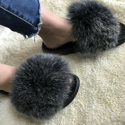 Black white frost/ Real Fox Fur Slides Slipper Indoor Outdoor Sandals Flat Shoes