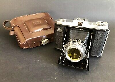 Antique/Vintage ZEISS IKON NETTAR FOLDING CAMERA w Leather Case & Yellow Filter