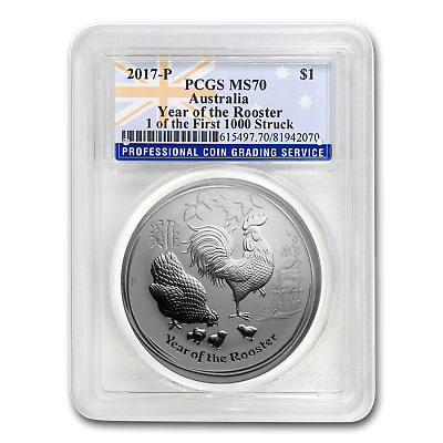 2017 AUS 1 oz Silver Rooster MS-70 PCGS (1 of First 1,000 Struck) - SKU#187226